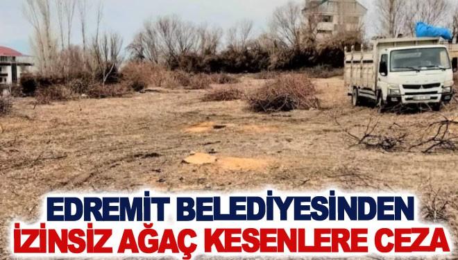Edremit Belediyesinden izinsiz ağaç kesenlere ceza