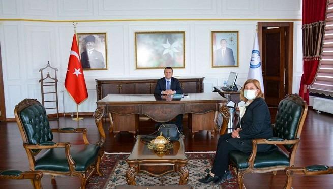 Kaymakam Türkman, İlçe Milli Eğitim Müdiresi Yörük'ü kabul etti