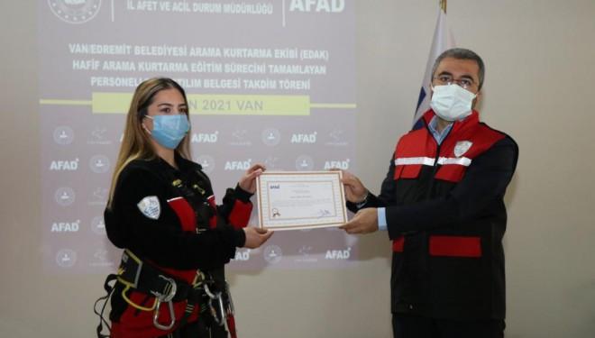 Edremit Belediyesi Gönüllü Arama Kurtarma Ekibine katılım belgesi