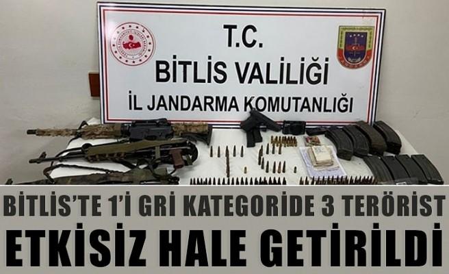 Bitlis'te 1'i gri kategoride 3 terörist etkisiz hale
