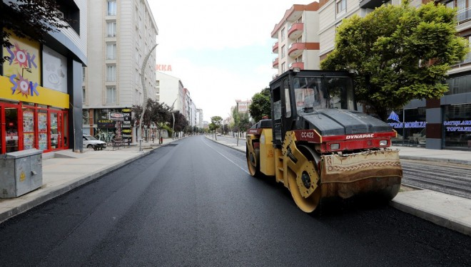 Sıhke Caddesi'nde asfalt çalışması
