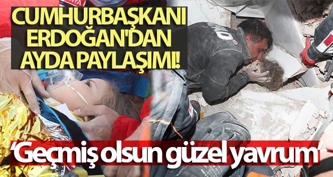 Cumhurbaşkanı Erdoğan'dan Ayda paylaşımı
