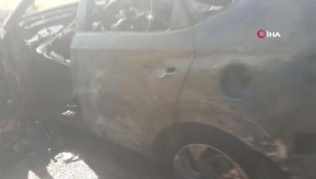 Seyir halindeki otomobil alev alev yandı (VİDEO)